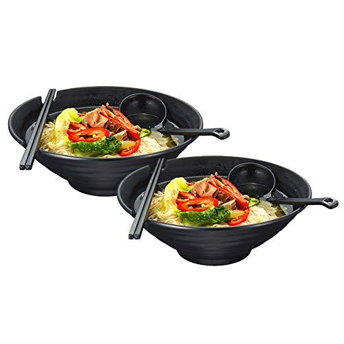 Lanbent 2 Stück Japanische Ramen Schüssel Set, Füllmenge 1000 ml Premium rutschfeste Suppe Schale mit Löffel und Essstäbchen, Multifunktional Müslischale für Pasta Obst Nudel Salat, Schwarz