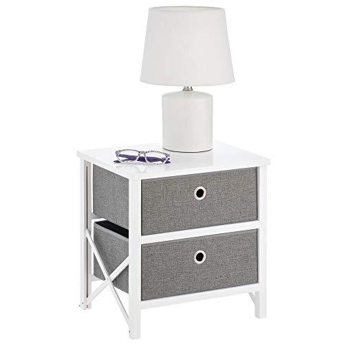 mDesign - Ladekast - opbergsysteem voor huishoudelijke artikelen of kleding - voor babykamer, hal, woonkamer of slaapkamer - met 2 lades/inklapbaar/hout en stof/compact - wit/grijs
