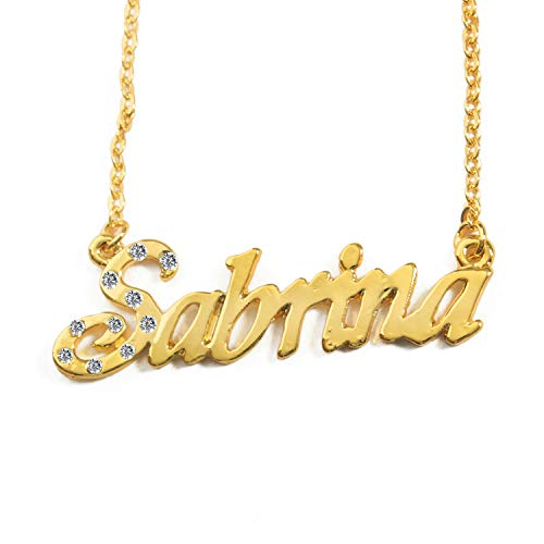 KL Sabrina Personalised Name - 18K Gold Plated Necklace - Adjustable Chain 16' - 19' Box