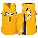 GDHA Anthony Davis 3# Los Angeles Lakers Jersey di Pallacanestro delle 2 Parti, Uomini Versione Classica Inwrought Training Vest Pantaloncini Completo, qualiy Sportswear Yellow-M