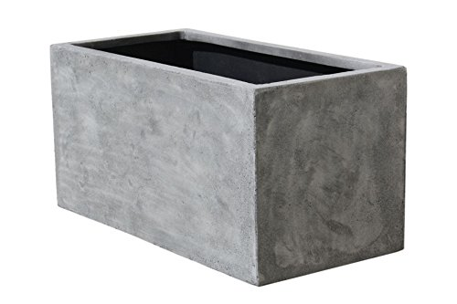 VIVANNO Pflanzkübel Pflanztrog Pflanzkasten Fiberglas Beton-Design grau Maxi - 40x80x40 cm