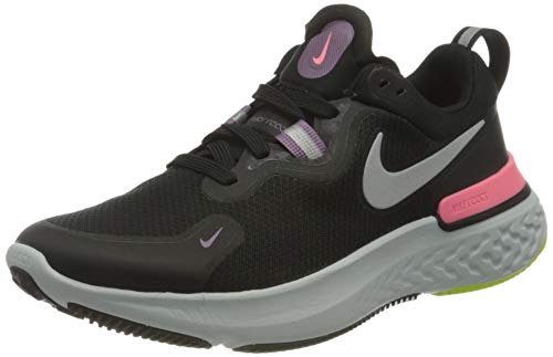 Nike React Miler, Running Shoe Mujer, Black/Metallic Silver-Violet Dust-Sunset Pulse-Cyber-Photon Dust, 39 EU
