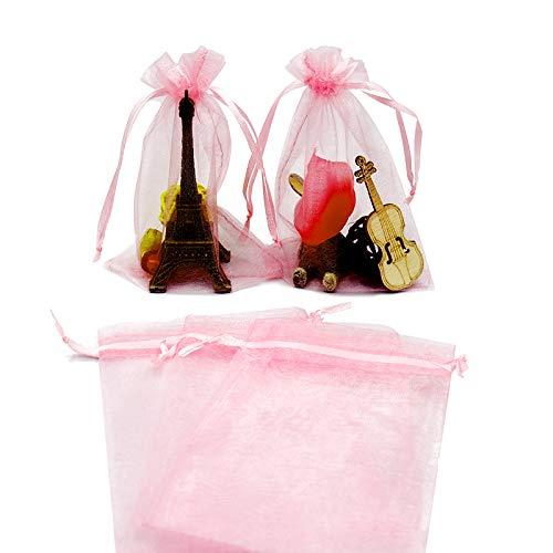 jijAcraft 100 Stück 10cm x 15cm Organza saeckchen,Organza-Geschenk-Taschen mit Kordelzug für Hochzeit Schmuck Süßigkeiten Schokolade Taschen (Pink)