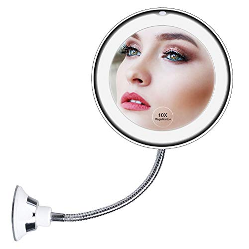 10X Magnifying Mirror with Lights, Flexible Mirror as seen on TV, Powerful Suction Cup, 360° Swivel Flexible Gooseneck Makeup Mirror for Bathroom Shaving Travel Vanity, Cordless