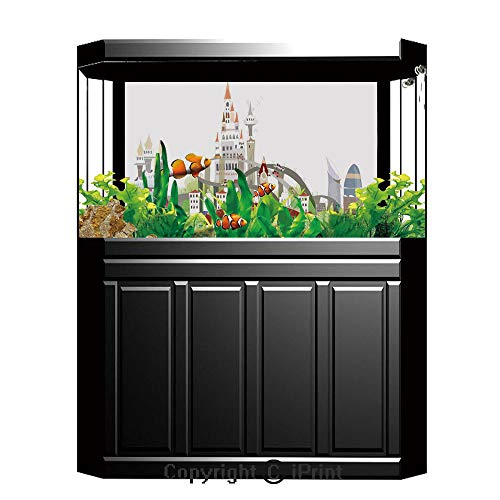 Fish Tank Background Decor Static Image Backdrop,Fantasy Decor,Mega City Urban Scenery with Medieval Castle Style Skyscrapers City Illustration,Multi,Underwater Ecosystem Photography Backdrop for Phot