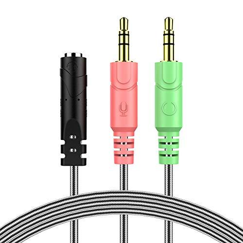 MillSO 3,5mm Audio Klinke Y Kabel Adapter -1 x 3,5mm 4 Pole Buchse 2 x 3,5mm 3 Pole Stecker für PC, PS4 Gaming Kopfhörer - 100CM Schwarz
