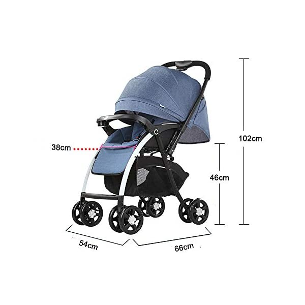 MOMOJA Foldable Baby Stroller Pushchairs 5 Point Harness Max Capacity 25kg (Blue) MOMOJA Easy folding - this pushchair is as easy to fold away as possible - the comfort stroller can be folded with one hand only within seconds, leaving one hand always free for your little ray of sunshine. Long use - this buggy can be used for a very long time; it is suitable From birth (also compatible with 2-in-1 carrycot or comfort fix infant car seat) up to a maximum of 25 kg. Comfortable - backfriendly push handle adjustable in height; backrest and footrest are multi-adjustable, the hood extendable; in addition, the pushchair comes with suspension, swiveling front wheels, soft padding and large shopping basket. 3