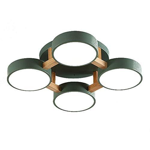 HLL Luz de techo regulable, luz de techo moderna nórdica led, lámpara de techo con pantalla de acrílico esmerilado, decoración de la sala de estar del dormitorio, luz de tres tonos de color verde cla