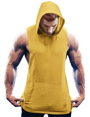 COOFANDY Camiseta Deportiva sin Mangas para Hombre Camiseta sin Mangas con músculos Entrenamiento físico Entrenamiento físico Sudadera con Capucha con Bolsillos