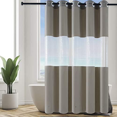 Furlinic Überlänger Duschvorhang Badvorhang aus PEVA Wasserdicht Anti-schimmel Waschbar Duschvorhänge Khaki mit 3D Fenster für Dusche & Badewanne mit Magnet XL 180x240cm Shower Curtains Hookless.