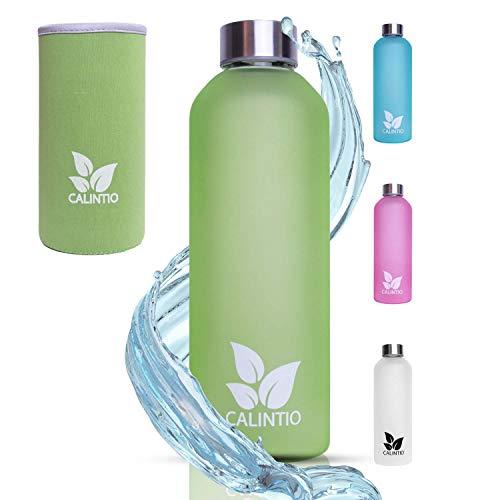 Calintio Designer Trinkflasche aus Glas - 550ml & 750ml - BPA frei, auslaufsicher und perfekt für unterwegs - hochwertige Glasflasche mit Neopren Schutzhülle … (750 ml, Grün)