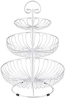 LOLAhome Frutero con 2 cestas pera negro industrial de metal de 35x27x51 cm