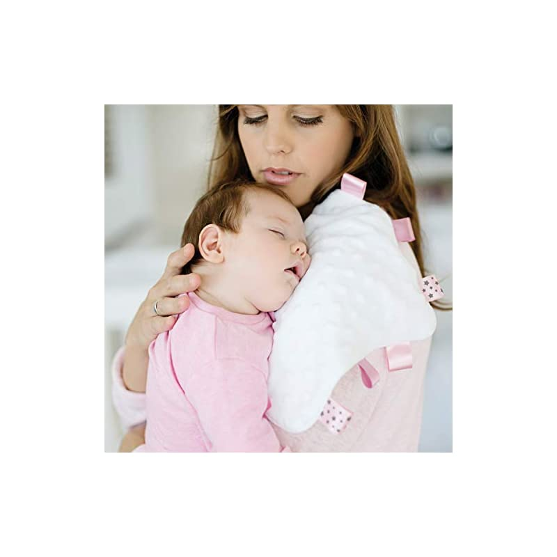crib bedding and baby bedding baby sense taglet security baby blanket lovey with pacifier tag | soft, soothing, comfortable, warm, cozy | unisex & toddler | durable & machine washable (pink)