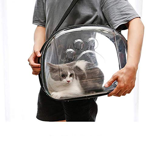 N/D Cat Carrier Backpack Space Capsule Bubble Airline Approved Hard-Sided Pet Bag Pet Travel Bag Transparent for Cats Small Dogs & Petite Animals Black-l