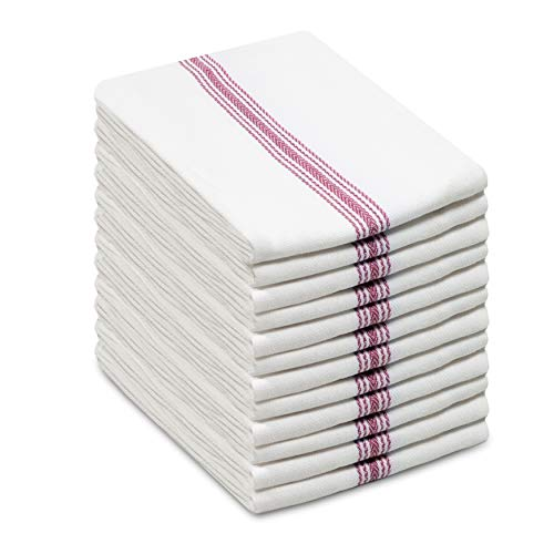 COTTON CRAFT Scandia Stripe Set of 12 Pure Cotton Multipurpose Low Lint Kitchen Towels, White and Red