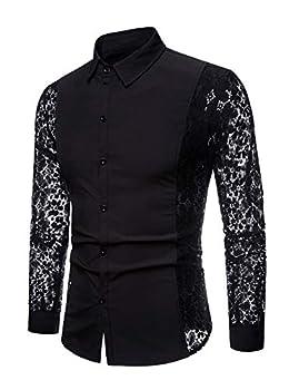INVACHI Men s Sexy Fishnet Button Down Shirts See Through Lace Sheer Shirts Black X-Large