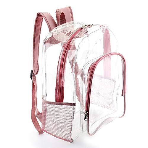 Cute Clear Backpack for Women and Girls Transparent See Through Plastic Bookbags for School,College, Music Festival,Stadium,Security (16' L, Rose Gold)