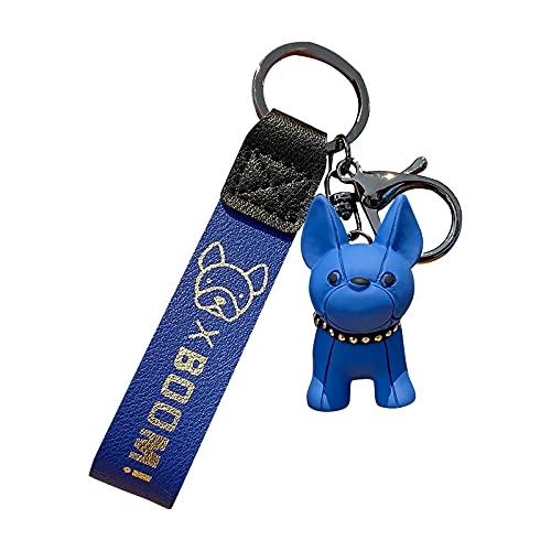 Französische Bulldogge Schlüsselbund Schlüsselring Punk Leder Hund Schlüsselbund Französische Geschenke Für Damen Rucksäcke, Brieftaschen, Anhänger, Accessoires, Auto Schlüsselanhänger