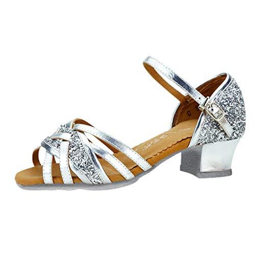 Damen Tanzschuhe Standard Latein Tango Salsa Dance Schuhe Elegante Sandalen Glitzer Blockabsatz Weicher Boden Schlüpfen für Party Hochzeit Celucke