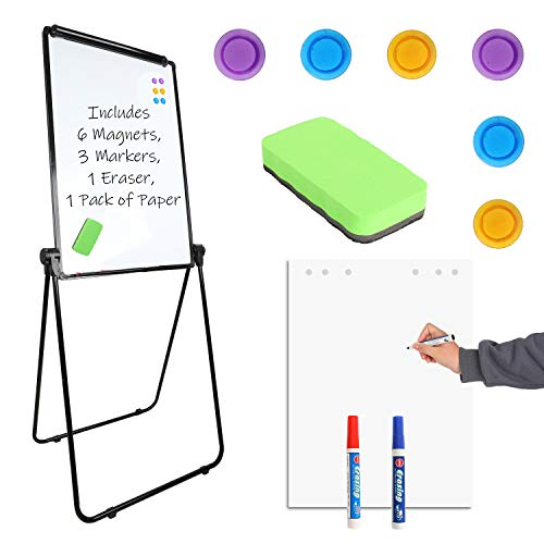 """Houseables Easel Style Dry Erase Boards, Teaching Easels, 24"""" x 36"""", 1 Whiteboard, 6 Magnets, 3 Markers, 1 Eraser, 25 Paper Sheets, Black, White, Flip Chart Stand, Presentation, Double Sided, Clamp"""