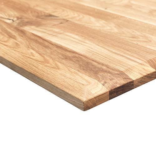 boho office® Massivholz, Tischplatte Schreibtischplatte 160 x 80 x 2.5 cm in Eiche Massiv mit 50 mm Breiten, durchgehenden Lamellen geölt und gewachst