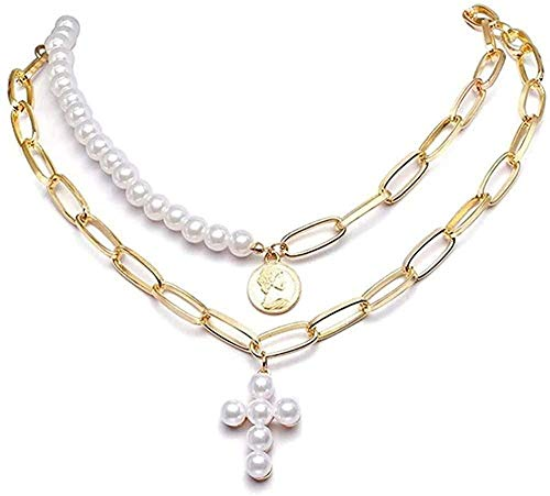 banbeitaotao Collar 2 unids/Set Collares en Capas para Wogold Color Metal Lora Rectangular Cadena Gargantilla Elegante Perla Colgante de Cruz