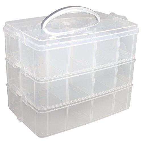 """Rayher boite de rangement avec poignée de transport €"""" boite de rangement à  17 compartiments 23,1 x 15,6 x 18,5cm €"""" transparent"""