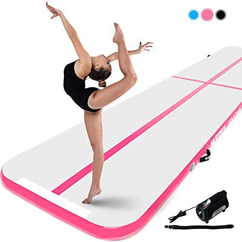 Murtisol 16ft Inflatable Gymnastics Training Mats Tumbling Mats 4 Inch Thickness for Home Use/Training/Cheerleading/Yoga/Water with Electric Pump Pink