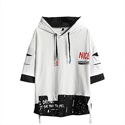 Sudadera con capucha para hombre, a la moda, estilo hip hop, patchwork - - Small