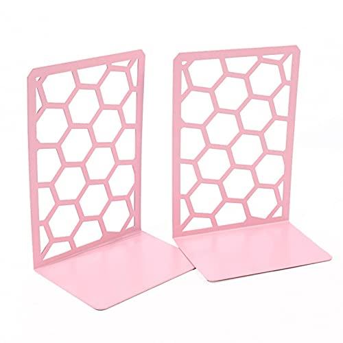 Ishine 1 par de sujetalibros hexagonales decorativos de metal, estantes de almacenamiento avanzados, estantería de panal de abeja, extremo de libro de metal, decoración del hogar