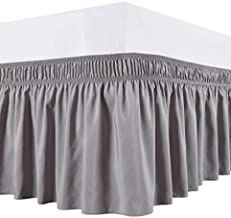 Biscaynebay Wrap Around Bed Skirts Elastic Bed Ruffles, Easy Fit Wrinkle and Fade Resistant Solid Color Silky Luxurious Textured Fabric, Silver Grey Full and Twin 15 Inches Drop