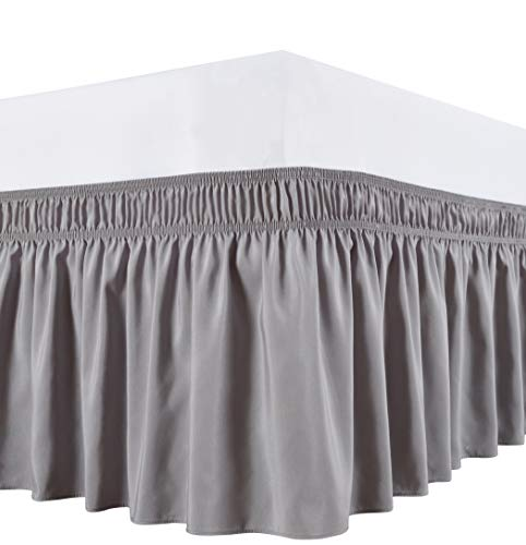 Biscaynebay Wrap Around Bed Skirts Elastic Dust Ruffles, Easy Fit Wrinkle and Fade Resistant Silky Luxrious Fabric Solid Color, Silver Grey for King and California King Size Beds 15 Inches Drop