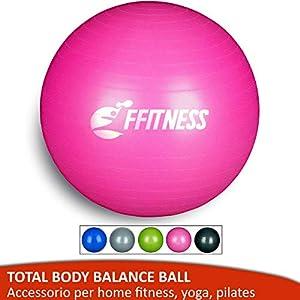 FFitness Total Body Balance Ball para gimnasia prenatal, Big Gymball (55 65 75 85 95 cm) antiestallidos para Core Stability, ejercicios abdominales, resistencia, fortalecimiento, Rosa, 75 cm