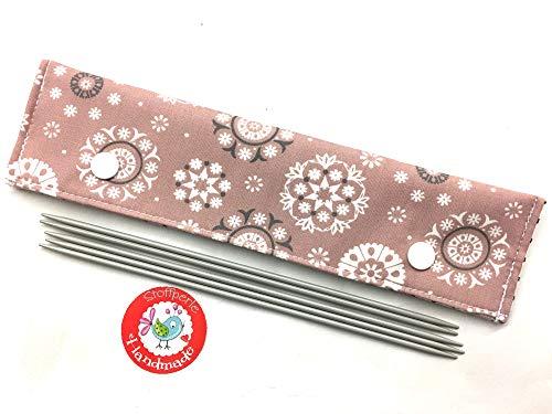 Nadelgarage/Needle Safe/Nadeltasche - für Nadelspiel 20cm - Mandala Blumen - altrosa/weiß/grau