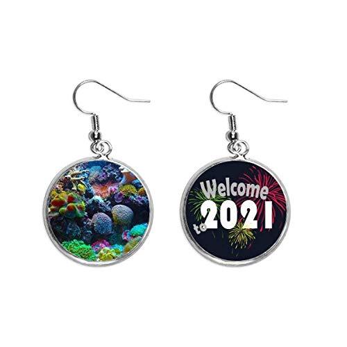 Océano Colorido Ciencia Naturaleza Imagen Oído Colgantes Pendientes Joyería 2021 Bendición