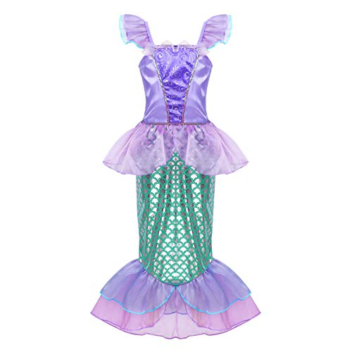 FEESHOW Mädchen Pailletten Kleine Meerjungfrau Kostüm Kinder Prinzessin Kleid Kinderkostüm Karneval Fasching Verkleidung 98-152 Violett&Grün 122-128