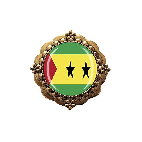 Broche estilo bandera de San Tomé y Príncipe Pin decoración de ropa insignia dorada