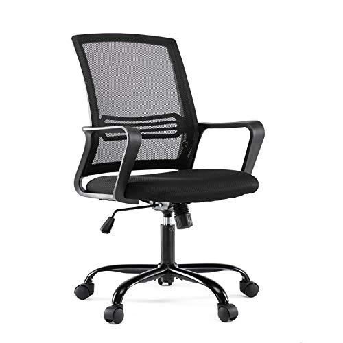Rimiking Ergonomic Task Computer Desk Swivel Mesh Office Chair with Wheels and Arms, Black
