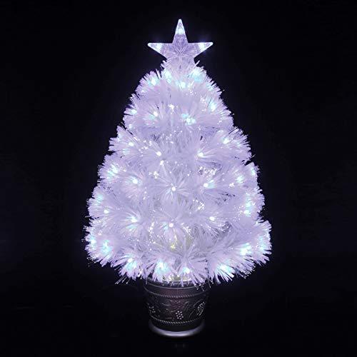 Arcoiris® Albero di Natale in Fibra Ottica con LED Albero di Natale in Fibra Artificiale, Verde, Bianco, 60cm - 180cm (60 CM, Fibra Bianca)