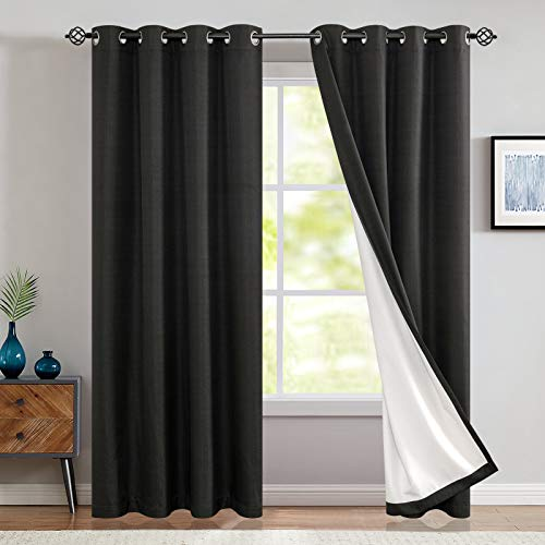 Blackout Thermal Backed Curtains for Living Room Lined Bedroom Drapes 95 Inch Length Black Grommet Top Window Curtain One Panel