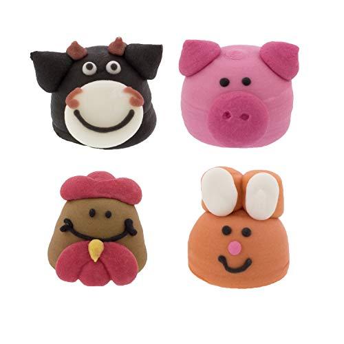 16 Bauernhoftiere - Kuh, Schwein, Huhn, Hase | Essbar | für Bauernhofkuchen