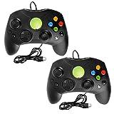 LINGSFIRE Controlador Xbox S con cable, paquete de 2 controladores de juegos clásicos para consola tipo Xbox S, joysticks de controlador original para consola Xbox Gen.1 (negro)
