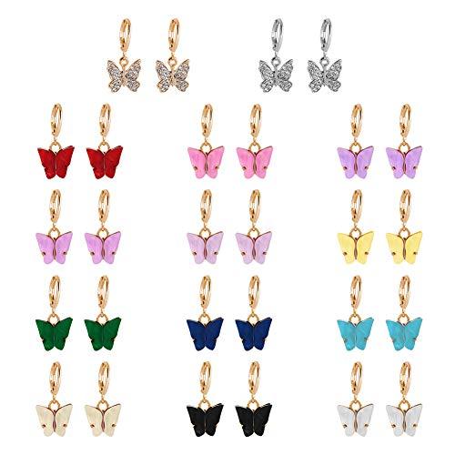 Xinstroe Silber Damen Ohrringe, 14 Paar Schmetterling Creolen Antiallergic Dangle Ohrringe Set Huggie Ohrring für Mädchen Tier für Frauen Mädchen