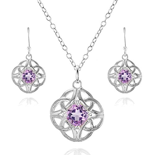 Sterling Silver Amethyst Cushion-Cut Celtic Knot Pendant Necklace and Dangle Earrings Set