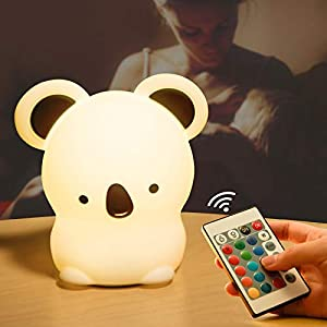 crib bedding and baby bedding cute koala night light for kids,led nursery portable color changing nightlight,usb rechargeable animal silicone lamps with remote control,glow soft gift for baby toddler boys girls bedroom decor