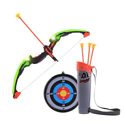 DYFO Pfeil und Bogen Kinder Set mit LED Schießen Spielzeug Schießspiele Set 1er Bogen 3er Pfeil 1 Köcher und 1er Zielscheibe mit Stütze ab 3 Jahre - DE104A