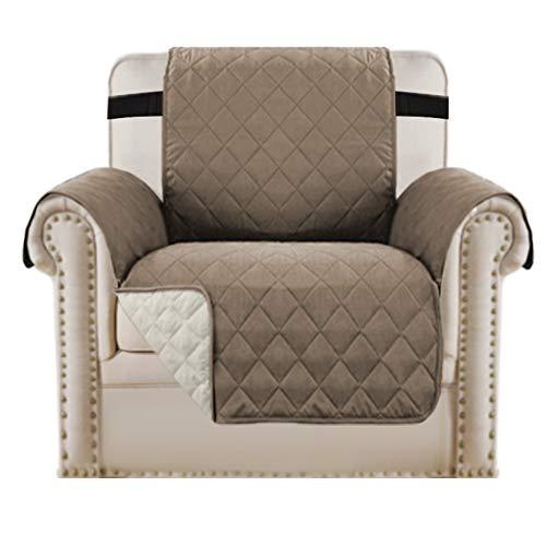 BellaHills Einsitzerbezug Schonbezug Reversible Gesteppte Möbelschoner, Mikrofaser-Sofa-Stuhlschoner mit elastischen Riemen bleiben an Ort und Stelle