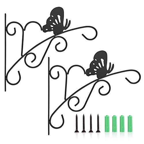 Richaa Hanging Plants Brackets 2 Pack Iron Wall Hanging Hooks Butterfly Hanging Basket Brackets with 4 Mounting Screws for Plant Basket Flower Pots Lanterns Wind Chimes Bird Feeder(Black)