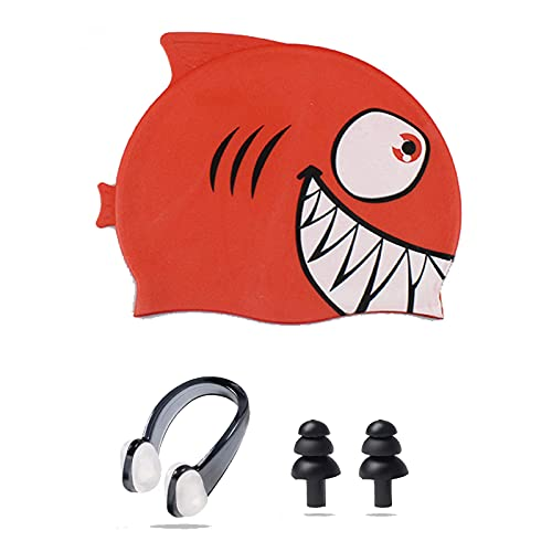 Ancaiqi Kids Swimming Cap, Silicone Kids Swim Cap Hat Waterproof Bathing Cap Animal Fish Shaped for Children Boys Girls with Nose Clip and Earplugs (Silicone red shark)