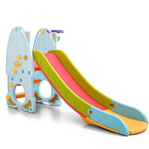 TikTakToo - Tobogán para niños, altura regulable, multicolor, para habitación infantil, jardín, con peldaños antideslizantes (azul claro, multicolor)